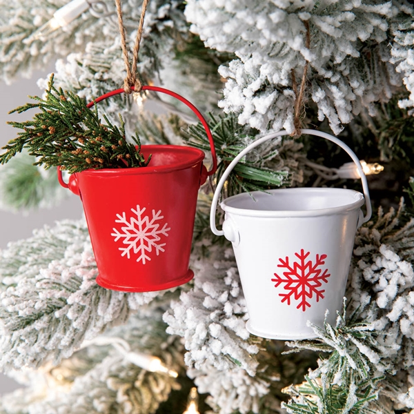 CTW Home Collection Box of 6 Red and White Snowflake Bucket Ornaments