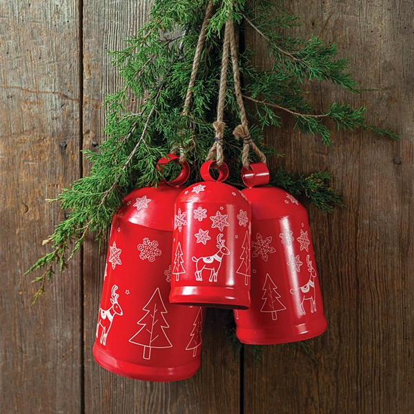 CTW Home Collection Set of Three Red-Metal Holiday Cylinder Bells