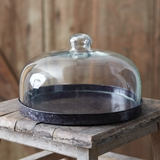 CTW Home Collection Glass Dome Dessert Cloche with Black Metal Base