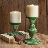 CTW Home Collection Set of Two Distressed Green Metal Candle Holders