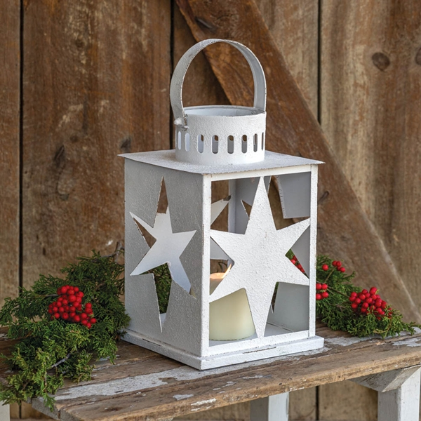 CTW Home Collection White-Painted-Metal Star Lantern