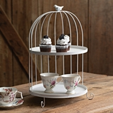 CTW Home Collection Two-Tier White-Metal Birdcage Dessert Tray