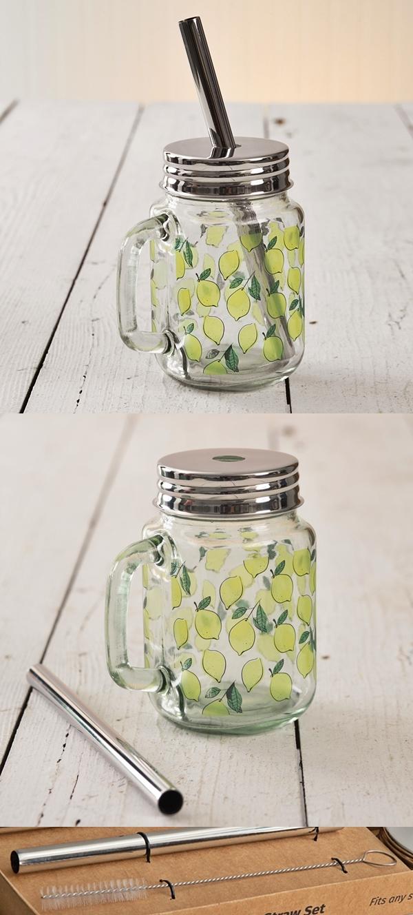 CTW Home Collection Lemons Motif Glass Mug with Metal Lid & Straw