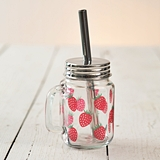 CTW Home Collection Strawberry Motif Glass Mug with Metal Lid & Straw