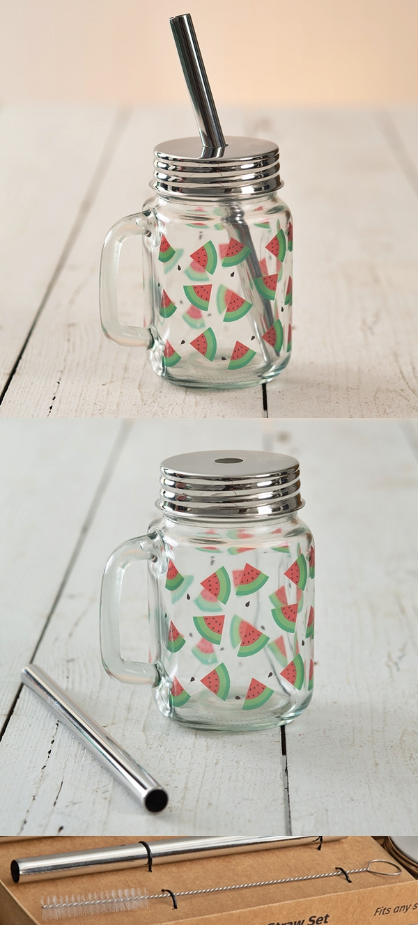 CTW Home Collection Watermelon Motif Glass Mug with Metal Lid & Straw