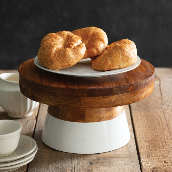CTW Home Collection White-Dip-Dyed Polished Wood Cake Stand
