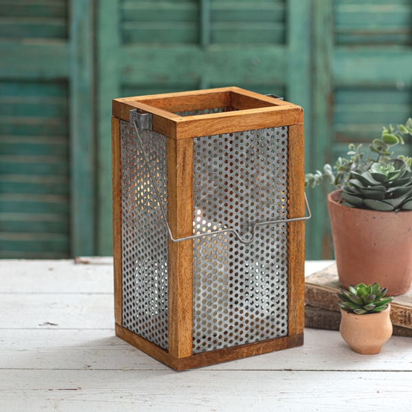 CTW Home Collection Large Theodore Lantern with Perforated Metal Panes