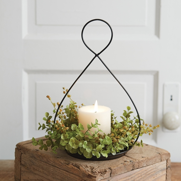 CTW Home Collection Black Metal Wire Teardrop-Shaped Candle Holder Pan