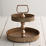 CTW Home Collection Gold-Colored-Metal Corrugated-Edge Two-Tiered Tray