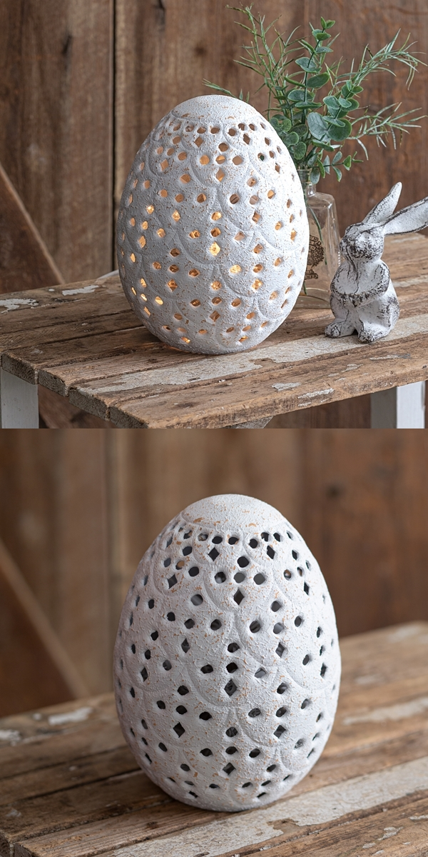 CTW Home Collection Perforated Metal Tabletop Egg/Candle Holder