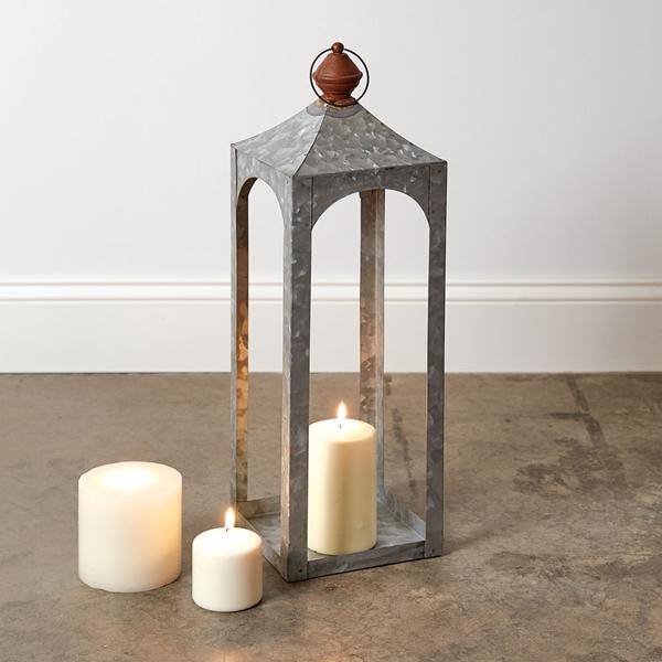 CTW Home Collection Small 'Nador' Galvanized-Metal Open Lantern