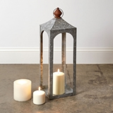 CTW Home Collection Small 'Nador' Galvanized-Metal Open Lantern