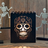 CTW Home Collection Black Metal Cutout Sugar Skull Design Luminary