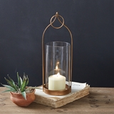 CTW Home Collection Brass-Plated Small 'Lucienne' Open-Area Lantern