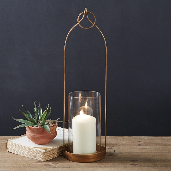 CTW Home Collection Brass-Plated Large 'Lucienne' Open-Area Lantern