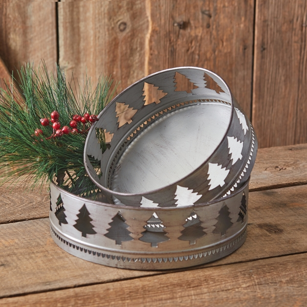 CTW Home Collection Set of Two Round Cutout Christmas Tree Motif Trays
