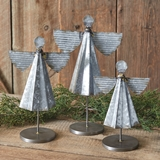 CTW Home Collection Rustic Set of Three Galvanized-Metal Angels