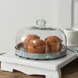 CTW Home Collection Glass Dome Dessert Cloche with Beaded Base