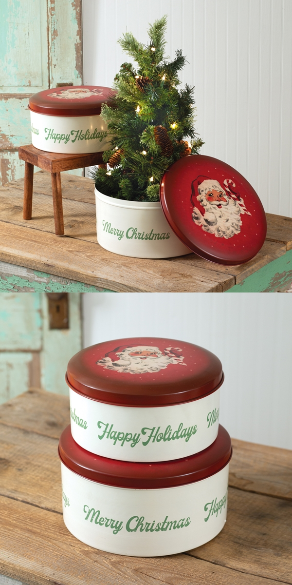 CTW Home Collection Set of 2 Vintage-Look Santa-Themed Christmas Tins