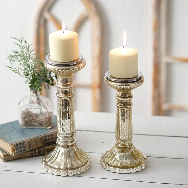 CTW Home Collection Set of Two Mercury Glass Pillar Candle Holders