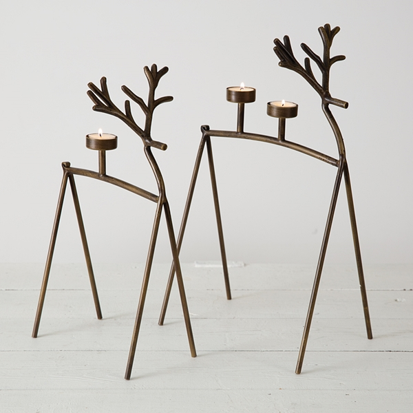 CTW Home Collection Set of Two Metal Reindeer Tealight Candle Holders