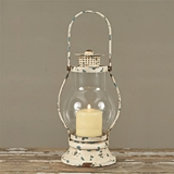 CTW Home Collection Antiqued-Metal White Railway Lantern with Chimney