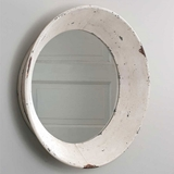 CTW Home Collection Antiqued-White-Metal Dutch Round Wall Mirror