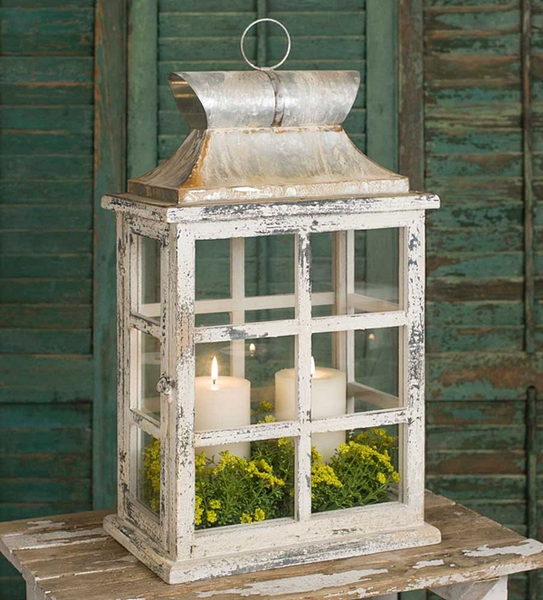 CTW Home Collection Large Windowpane Lantern with Latched Door