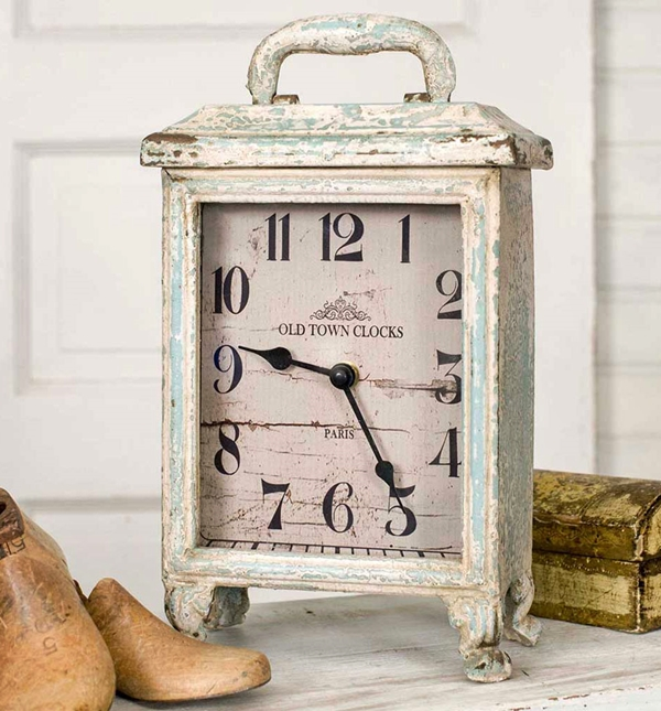 CTW Home Collection Antiqued-Whitewash-Metal Parisian Carriage Clock