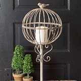 CTW Home Collection Globe Pillar Candle Cage with Songbird