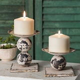 CTW Home Collection Two Distressed White Metal Spheres Candle Holders