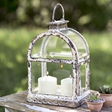 CTW Home Collection Antiqued-Metal Arched Window-Pane Lantern