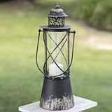 CTW Home Collection Antiqued-Black-Metal Point Loma Lantern