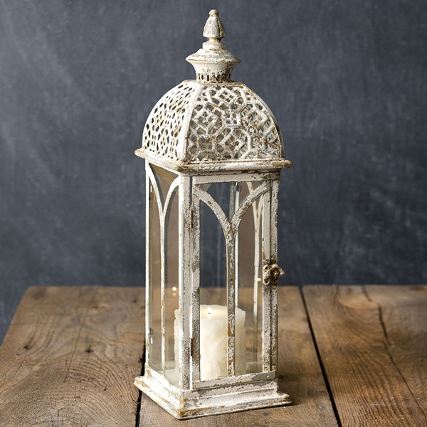 CTW Home Collection Antiqued-White-Metal Lattice Top Lantern