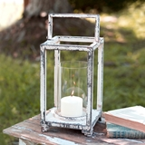 CTW Home Collection Weathered White-Painted Metal Stonebriar Lantern
