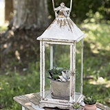CTW Home Collection Antiqued-White-Metal Emerson Lattern