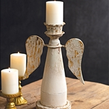 CTW Home Collection Antiqued-Metal Angel Wings Pillar Candle Holder