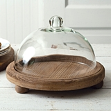 CTW Home Collection Glass Dessert Cloche with Rustic Wood Base