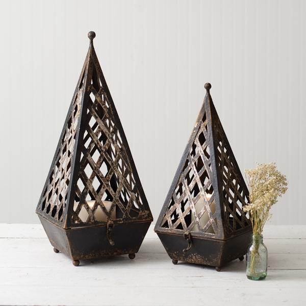 CTW Home Collection Set of Two Antiqued-Black-Metal Napoleon Lanterns