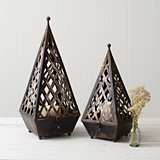 CTW Home Collection Set of Two Antiqued-Black-Metal Napoleon Lanterns