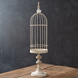 CTW Home Collection Antiqued-Metal Tall White Birdcage Cloche w/ Stand