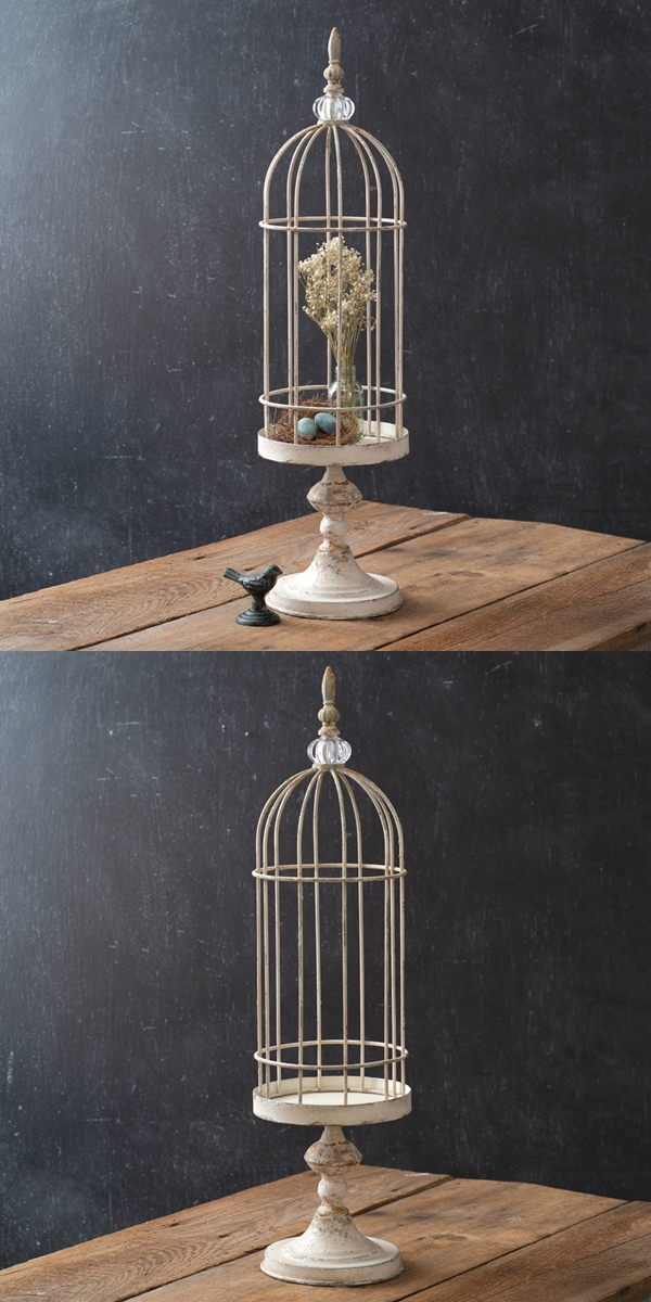 CTW Home Collection Antiqued-White Short Birdcage Cloche with Stand