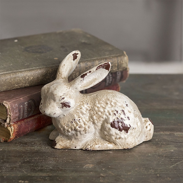 CTW Home Collection Vintage-Look Cast-Iron Bunny Statue