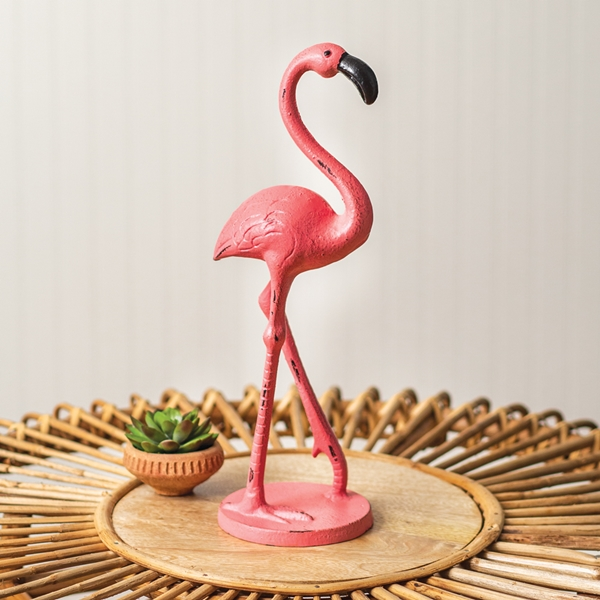 CTW Home Collection Cast-Iron Pink Flamingo Statue