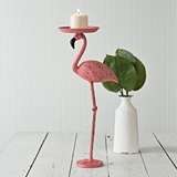 CTW Home Collection Cast Metal Pink Flamingo Candle Holder