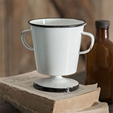 CTW Home Collection White Vintage Look Cup with Handles and Black Trim