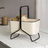 CTW Home Collection Metal Carrier with Integrated Handle and Stand