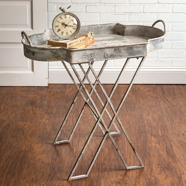 CTW Home Collection Metal Butler Serving Tray Stand with Folding Legs