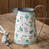 CTW Home Collection Metal Pitcher with Floral and Plaid Design