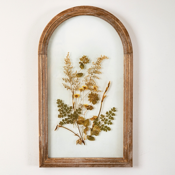 CTW Home Collection Brown Arched Wood-Frame Botanical Wall Decor